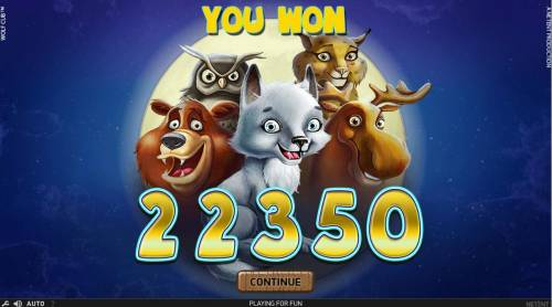 Wolf Cub Review Slots Free Games feature pays out a total of 22,350 for a super mega win.