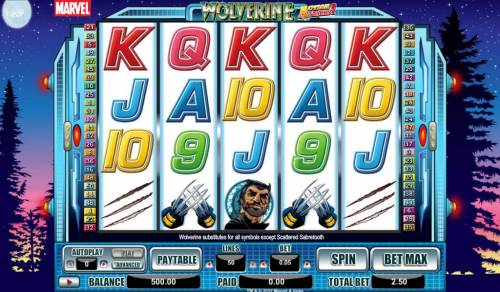 Wolverine Action Stacks Review Slots main game board featuring five reels and fifty paylines