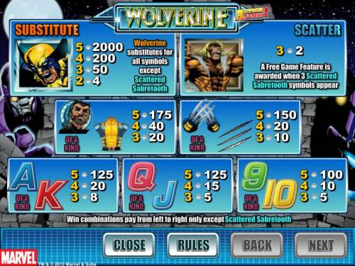 Wolverine Action Stacks Review Slots slot game symbols paytable