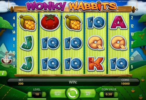 Wonky Wabbits Review Slots main game board featuring five reels and 15 paylies