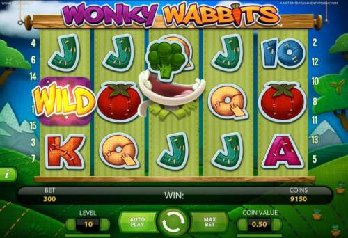 Wonky Wabbits Review Slots wild duplication in action on 3rd reel