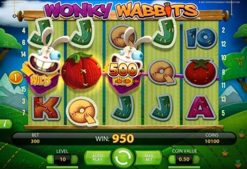 Wonky Wabbits Review Slots a 950 coin payout triggered by a pair of wild symbols