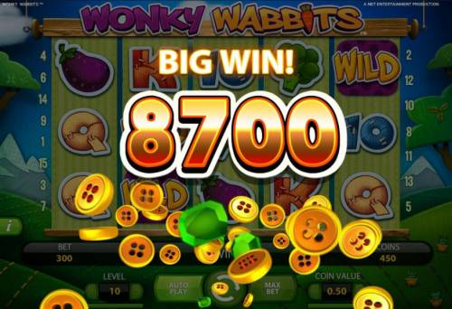 Wonky Wabbits Review Slots an 8700 coin big win awarded