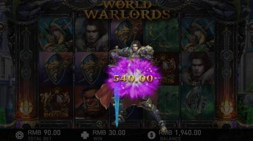 World of Warlords Review Slots Selection awards a 540 coin payout