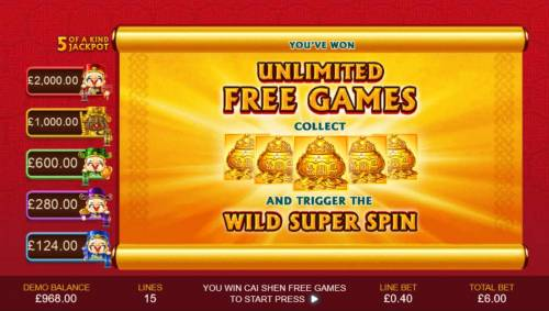 Wu Lu Cai Shen Review Slots Unlimited Free Games - Collect five gold vases and trigger the Wild Super Spin.