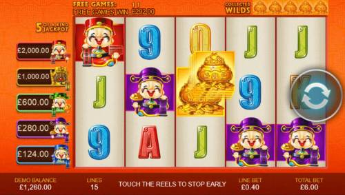 Wu Lu Cai Shen Review Slots Collect five gold vases during the free games featue to activate the Wild Super Spin. Once you collect the five gold vases, the free games end.
