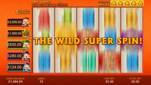 Wu Lu Cai Shen Review Slots Once you have collected five gold vases, the unlimited free games end and the Wild Super Spin begins.