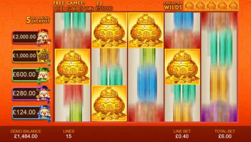 Wu Lu Cai Shen Review Slots The five gold vases that you collected during the free games will be randomly placed on the reels and become sticky wilds.