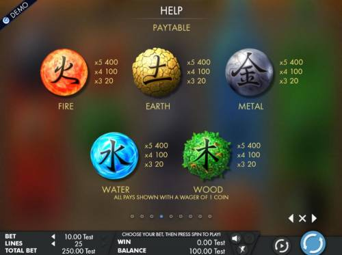 Wu Xing Review Slots High value slot game symbols paytable featuring the five elements inspired icons.