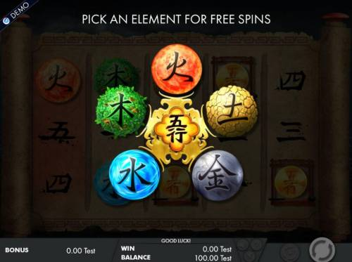 Wu Xing Review Slots Pick an element for free spins.