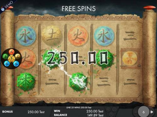 Wu Xing Review Slots A winning Four of a Kind triggers a 250.00 jackpot win during the free spins feature..