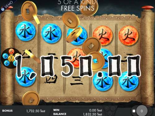 Wu Xing Review Slots A winning Five of a Kind leads to a 1,050.00 big win.