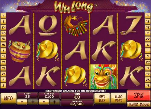 Wu Long Review Slots Main game board featuring five reels and 25 paylines with a $250,000 max payout