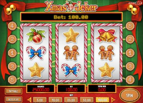 Xmas Joker Review Slots Main game board featuring three reels and 5 paylines with a $2,000 max payout