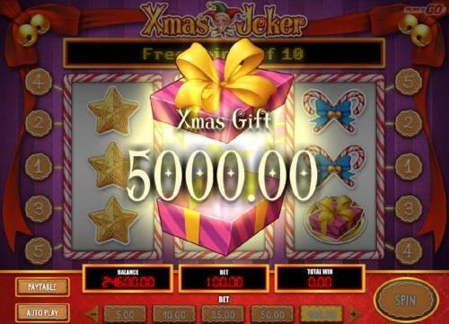 Xmas Joker Review Slots Xmas gift triggers a 5,000.00 big win during the free spins feature.