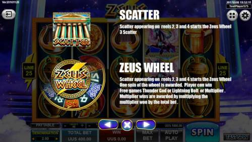 Zeus Review Slots Scatter appearing on reels 2, 3 and 4 starts the Zeus Wheel bonus.