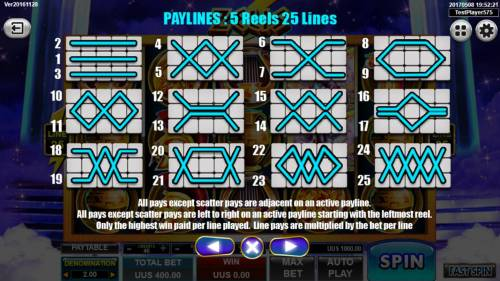 Zeus Review Slots Payline Diagrams 1-25. All pays except scatter pays are adjacent on an active payline. All pays except scatter pays are left to right on an active payline starting with the leftmost reel. Only the highest win paid per line played.