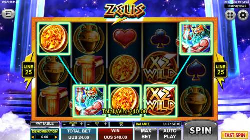 Zeus Review Slots A winning Five of a Kind triggers a 240.00 payout.