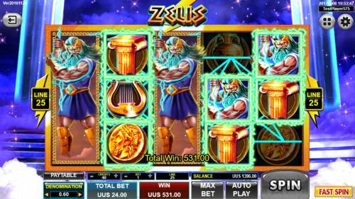 Zeus Review Slots Dual Stacked Wilds on reels 1 and 3 triggers a 531.00 jackpot.