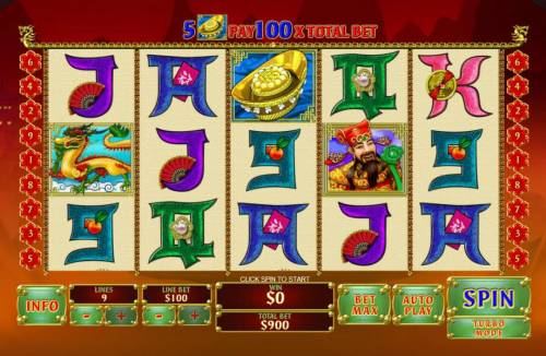 Zhao Cai Jin Bao Review Slots Main game board featuring five reels and 9 paylines with a $500,000 max payout