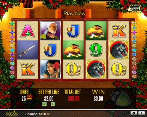 Zorro The Tale of the Lost Gold Review Slots An action hero themed main game board featuring five reels and 25 paylines with a $1,000 max payout
