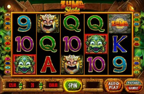 Zuma Slots Review Slots Main game board featuring five reels and 20 paylines with a $250,000 max payout