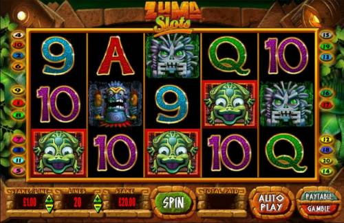 Zuma Slots Review Slots Three frog scatter symbols triggers the free spins feature.