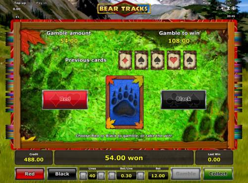 Bear Tracks Review Slots Gamble Feature - To gamble any win press Gamble then select Red or Black.