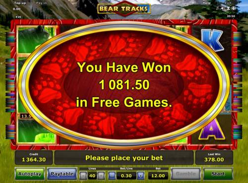 Bear Tracks Review Slots Free Games feature pays out a total of 1,081.50