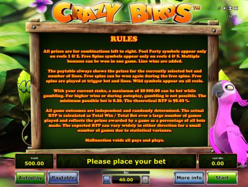 Crazy Birds Review Slots General Game Rules