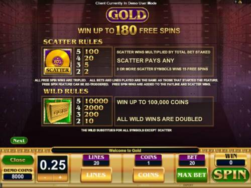 Gold Review Slots Paytable 2