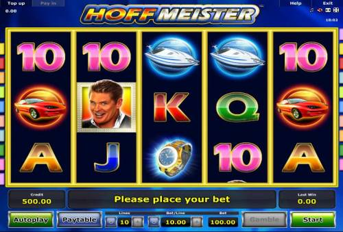 Hoffmeister Review Slots Main game board featuring five reels and 10 paylines with a $100,000 max payout