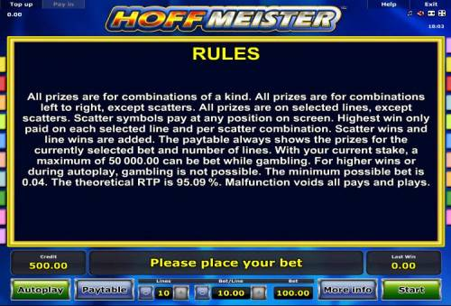 Hoffmeister Review Slots General Game Rules - The theoretical average return to player (RTP) is 95.09%.