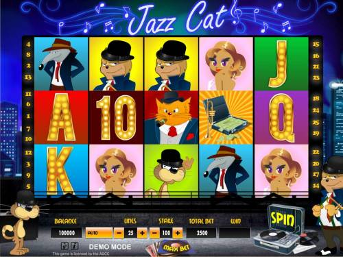 Jazz Cat Review Slots Main game board featuring five reels and 25 paylines with a $10,000 max payout.