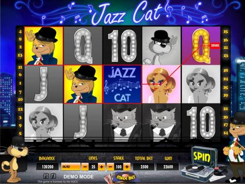 Jazz Cat Review Slots A winning Three of a Kind.