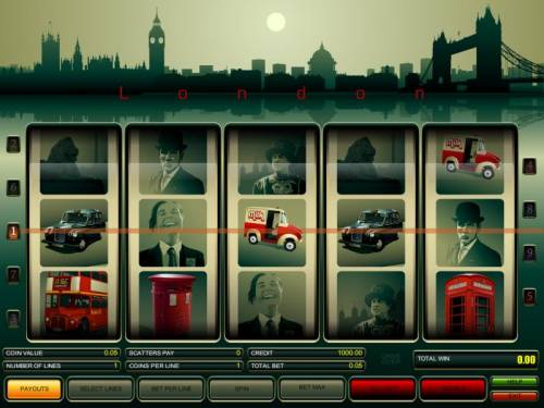 London Review Slots main game board featuring five reels and nine paylines