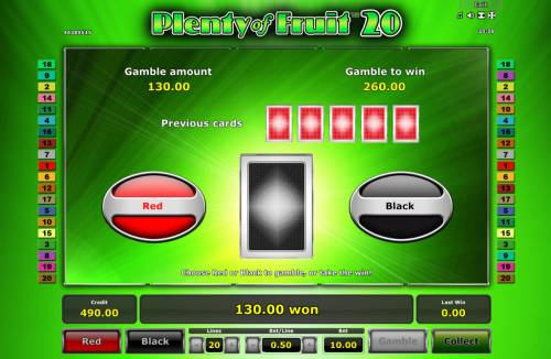 Plenty of Fruit 20 Review Slots Red or Black Gamble feature
