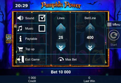 Pumpkin Power Review Slots By clicking on the Menu option you can adjust the active lines and amount of your bet per line.