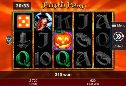 Pumpkin Power Review Slots Bonus feature add an additional 200 credits to the free spins win.
