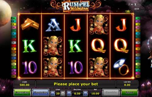 Rumpel Wildspins Review Slots main game board featuring five reels, twenty paylines and a $25,000 max payout