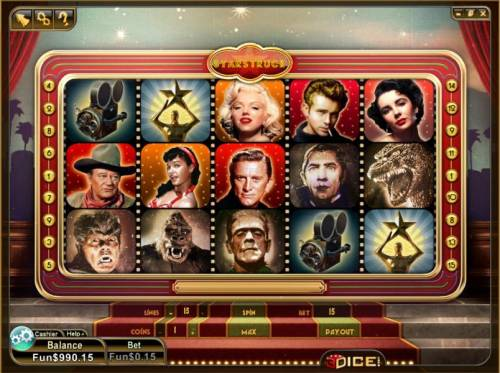 Star Struck Review Slots main game board featuring 5 reels and 12 paylines