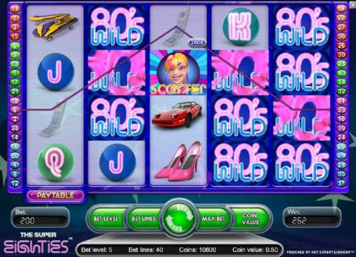 Super Eighties Review Slots Five of a kind leads to a 2,000 coin big win!