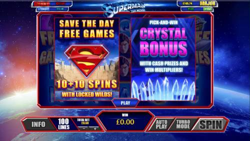 Superman the Movie Review Slots Game feature include: Save the Day Free Games with locked wilds and Pick and Win Crystal Bonus.