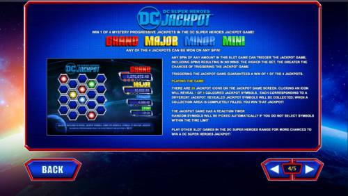 Superman the Movie Review Slots DC Super Heroes Jackpot Game Rules - Win 1 of 4 Mystery Progressive Jackpots in the DC Super Heroes Jackpot.