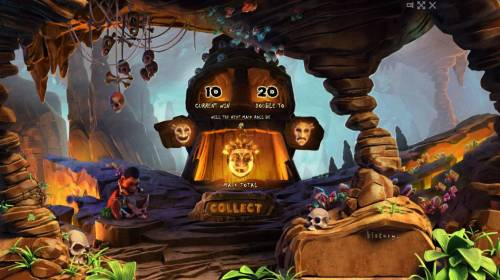 Totem Island Review Slots Double Up Feature - To gamble any win press Gamble then select Happy or Sad Face
