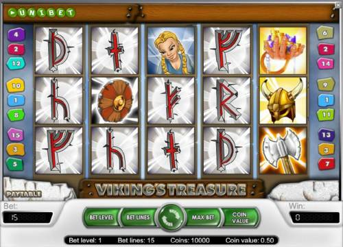 Viking's Treasure Review Slots main game board featuring five reels and 15 paylines