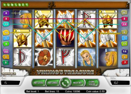 Viking's Treasure Review Slots another example of a 162 coin jackpot triggered by multiple winning paylines