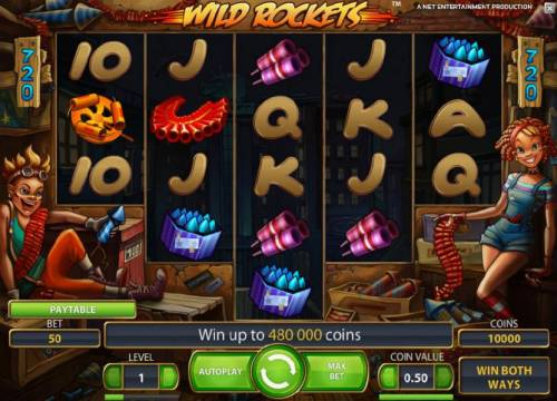 Wild Rockets Review Slots main game board featuring five reels and 720 bet ways