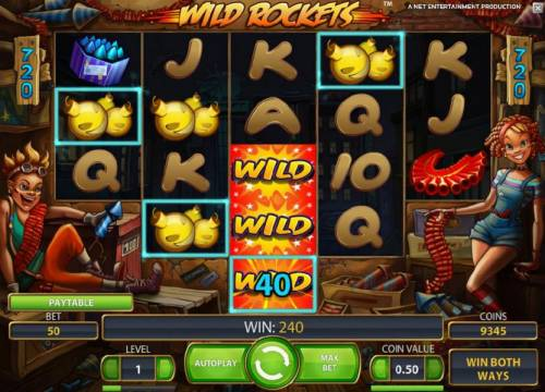 Wild Rockets Review Slots 240 coin jackpot triggered expanding wild symbol