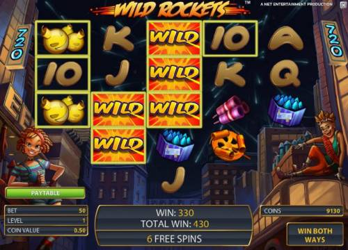 Wild Rockets Review Slots 330 coin jackpot triggered once again by expanding wilds, only this time during the free spins feature